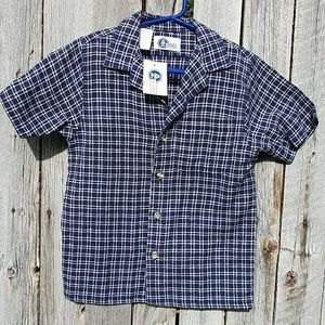 Arizona Boys M Blue &White Plaid Button up shirt